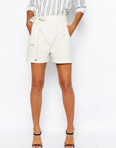 Image 4 of ASOS Casual Wrap Front Tie Shorts