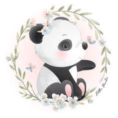 Watercolor Flower Background, Floral Watercolor, Lama Animal, Boat Cartoon, Pink Flower Bouquet, Panda Drawing, Panda Art, Little Panda, Hand Drawn Flowers