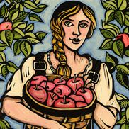 """""""Girl with apples"""" is a hand colored linoleum print."""