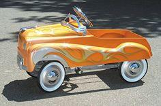 tiny tangerine hot rod pedal car ~ sweeeet