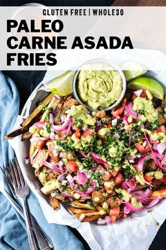 Gluten Free Carne Asada Fries Recipe - Recreate this San Diego favorite at home with booming homemade carne asada and simple baked sweet potato fries! You'll find the best carne asada marinade in this post - perfect for these smothered fries or carne asad Paleo Recipes Easy, Easy Healthy Dinners, Whole 30 Recipes, Clean Eating Recipes, Lunch Recipes, Healthy Dinner Recipes, Beef Recipes, Whole Food Recipes, Primal Recipes