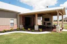 Superb Metal Building Hobby Barn-Garage w/ Outdoor Pavilion (11 HQ Pictures) | Metal Building Homes