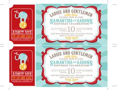 Carnival Birthday Party Invitations, Circus Baby Shower, Carnival Invitations, Circus Invitations Ticket Invitation, Baby Shower Invitations. $20.00, via Etsy.