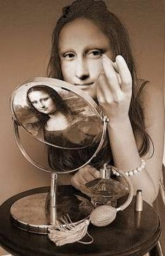 When Mona Lisa does her makeup - The Face of Fragrance Monet, Lisa Gherardini, Graffiti, Portrait, La Madone, Mona Lisa Parody, Mona Lisa Smile, Tachisme, Photocollage