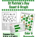 St Patrick's Day Count & Graph - Common Core Measurement & Data This is an 5 page pdf file.There is one set of pictures:8 leprechauns 3 leprechaun faces 6 shamrocks 4 pots of gold 5 hats   The set is provided as a full page in color and a full page in grayscale to use with a half page bar graph. A full page that includes the bar graph at the bottom is also provided. $.90