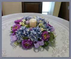 Blue Hydrangea Candle Wreath Hydrangea by SilkFloralsandFrills