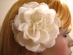 Bridal Wedding Hair Accessory Ivory Rose Hair Clip Polianta Pin Up A delicate ivory Polianta Rose in ivory silk. Looks beautiful worn alone in hair or with a veil or headband.  Dimensions: An almost open bloom about 3 3/4 in diameter