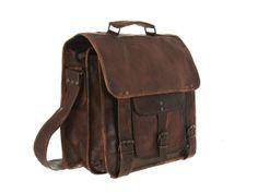 Expertly Handmade Vintage-inspired Men's Leather Laptop Bag