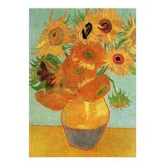 Van Gogh Sunflowers Wedding Invitations.