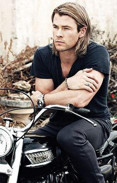 Chris Hemsworth-Seriously, what you would look like with long hair! Ha & sitting on a bike with the low bars you've been wanting.