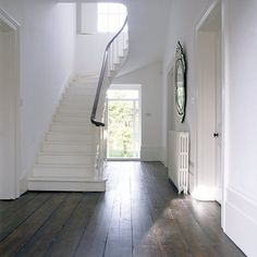 neutrals, simple, clean, dark wood floors, mirror