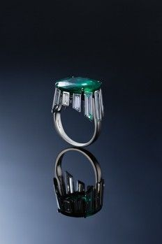 OLD-MINE COLOMBIAN EMERALD AND DIAMOND  RING BY BHAGAT.