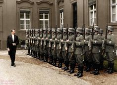 Adolf Hitler reviews an honor guard in the inner yard of the Reichspräsidentenpalais, after receiving Józef Lipski as new Polish ambassador. Berlin, September 1934.