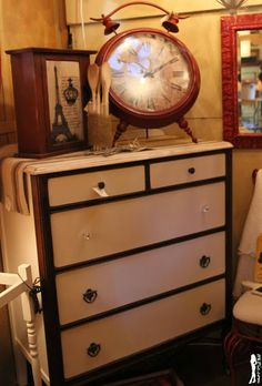 White and wood dresser at The Shabby Cottage