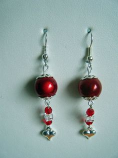 Red earrings for Valentine's Day - with red beads, red and clear crystals and tiny silver-plated hearts £4.00