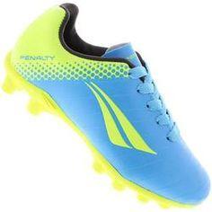 93c2d90455491 Chuteira Penalty Campo K Soccer Victoria R1 III - Azul e Amarelo