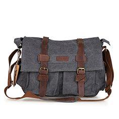 Kattee Mens Canvas Cow Leather DSLR SLR Vintage Camera Shoulder Messenger Bag Dark Gray  Buy New: $53.99(On sale from $63.99)