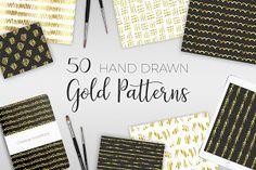 50 Hand Drawn Gold Patterns