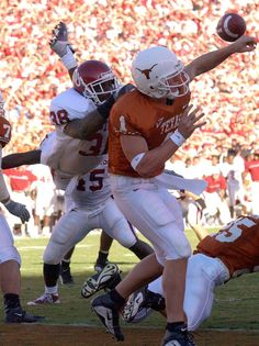 Oct. 6, 2001: Oklahoma 14, Texas 3...  Oklahoma safety Roy Williams made the signature play nearing the two-minute mark when he landed on Chris Simms as Simms attempted to pass. The ball wound up in the arms of linebacker Teddy Lehman, who walked two yards into the end zone.