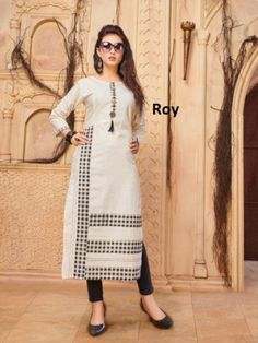 Vastrangam An Online Women's Ethnic & Western Clothing Store Khadi Kurti, Salwar Kameez, Western Outfits, Western Wear, Stylish Kurtis, Embroidery On Kurtis, Kurti Patterns, Gowns For Girls, Fashion Dresses