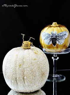 Glamorous pumpkins! White and gold decoupaged with gold wire wrapped stems