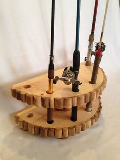 Fishing Rod Stand - Rustic Log Cabin Decor For Man Cave - Sporting Goods Gift…