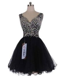 Exciting black and silver short tutu rhinestone prom dresses with straps - amazing dress