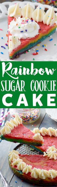 This Rainbow Sugar Cookie Cake is a show stopper! Plus it's totally delicious! Best Cookie Recipes, Best Dessert Recipes, Sweet Recipes, Delicious Desserts, Cake Recipes, Party Recipes, Baking Recipes, Rainbow Sugar Cookies, Sugar Cookie Cakes