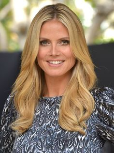 Trending Tresses: Dimensional Hair Hues for Fall | From Bliss to Beauty. Heidi Klum's Honey Blonde Hair