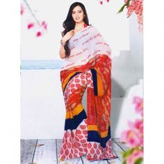Red and Blue shaded with motif printed saree for $30