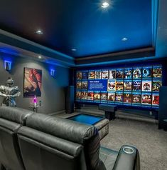 Home Movie Theater Decor: Most people will enjoy watching their favorite movies. Going to the cinema with family and friend is a fun activity. Movie Theater Decor, Home Theater Room Design, Home Cinema Room, Home Theater Basement, Basement Bars, Theatre Design, Basement Ideas, Small Home Theaters, Home Movies