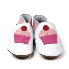 Inch Blue - White Shoes with Pink Cupcake & Red Cherry