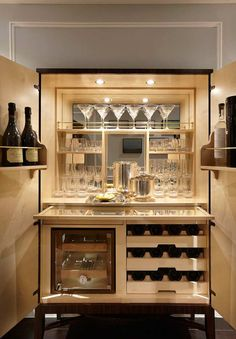 A home bar is one of the most fun places in the house, and it's a great area to add a pop of color—whether in the cabinetry, stools, walls or art. Check out 33 custom home bar design ideas. All styles, sizes and materials. Armoire Bar, Home Bar Cabinet, Drinks Cabinet, Liquor Cabinet, Cabinet Ideas, Bar Cabinets For Home, Bar Hutch, Cabinet Plans, Mini Bars