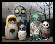 Bought a set of blank Russian Nesting Dolls and painted them all up. They are, from largest to smallest: Babushka Ghost, Medusa, Ghost Bride, Masque of . Nesting Dolls of HORROR Halloween Doll, Holidays Halloween, Halloween Crafts, Happy Halloween, Halloween Decorations, Halloween Stuff, Vintage Halloween, Samhain, Favorite Holiday