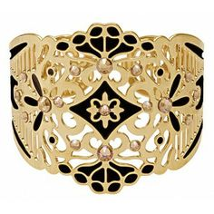 Cuff - gold plated with black enamel and swarovski crystals Shop online http://www.dazzlingjewellery.net/shop/product.php?id_product=911