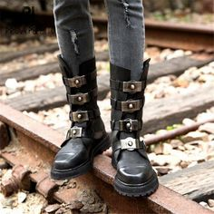 ae9eafc96ed Prova Perfetto Black Punk Style Women Motorcycle Boots Straps Back Zipper  Mid-calf Winter Boots Female Platform Botas Militares
