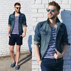 Call It Spring Boat Shoes, Banana Republic Denim Jacket, Club Monaco Shorts, H&M T Shirt