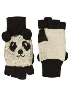 Photo 1 of Evans Black & Cream Panda Mitten Gloves