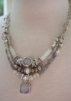 necklace, rainbow moonstone necklace, druzy necklace, muscovite necklace, bohemian necklace, purple necklace, summer trends, purple