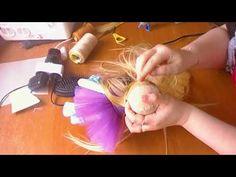 крепление волос кукле - YouTube
