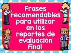 Frases, comentarios, recomendaciones para reportes de evaluación FINAL - Imagenes Educativas