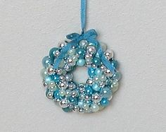 1:12 Sparkling Christmas Ornaments Wreath - 'Ice blue' - Blue and silver - scale dollhouse miniature (HH12)