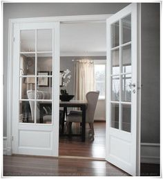 Looking for new trending french door ideas? Find 100 pictures of the very best french door ideas from top designers. Interior, Home, Interior Barn Doors, Office Interiors, New Homes, Doors Interior, House Interior, Double Doors Interior, French Doors Interior