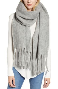 Allsaints Solid Brushed Wool Blanket Scarf In Grey Marl Blanket Scarf, Wool Blanket, Allsaints Style, Black Dress Outfits, All Saints, Scarf Styles, Simple Dresses, Cute Fashion, Scarf Wrap