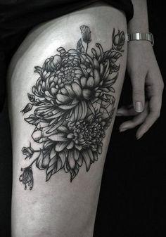 chrysanthemum thigh tattoo - 40 Beautiful Chrysanthemum Tattoo Ideas | Art and Design