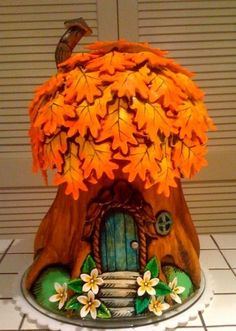 Fall Inspiration: 10 Incredible Fall Cake Ideas Clay Fairy House, Fairy House Cake, Fairy Houses, Gnome House, Cute Cakes, Pretty Cakes, Beautiful Cakes, Amazing Cakes, Clay Fairies