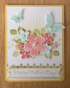 Stampin Up handmade Mother's Day card - Happpy mother's day with sun, flowers and butterflies