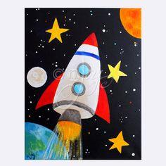 Arte perfecto para un cuarto espacio temático vivero o chicos. Este cohete es volando al espacio dejando la tierra y la luna detrás! La pintura cuenta con detalles metálicos plateados y los bordes están pintados de negro para darle una apariencia enmarcada, esta pintura es segura alegrar cualquier habitación de los niños. 11 x 14 acrílico sobre galería envuelto lona,  Bordes completamente pintados - listo para colgar.    Espacio temático arte más aquí…