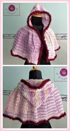 Crochet Scent of Spring hooded cape - Maz Kwok's Designs #freecrochetpattern