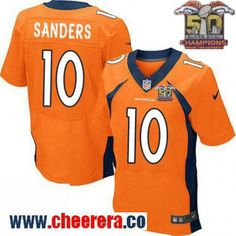 Men's Denver Broncos #10 Emmanuel Sanders Orange 2016 Super Bowl 50th Championship Patch Stitched NFL Nike Elite Jersey